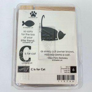 NEW Stampin Up C Is For Cat Wood Stamp Set Pets